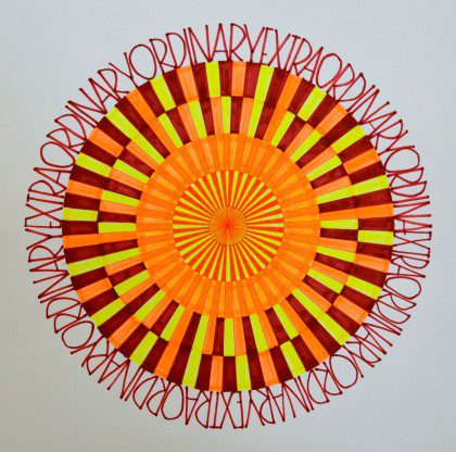 Concentric Suns Mandala, colored markers on paper, David Schimmel