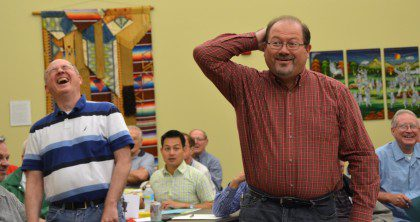 Br. Duane Lemke gets the new provincial laughing