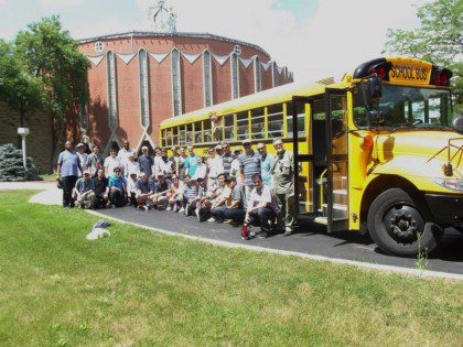 ESL students and staff get ready to head to the zoo,