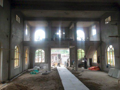 Inside of the newly developing church