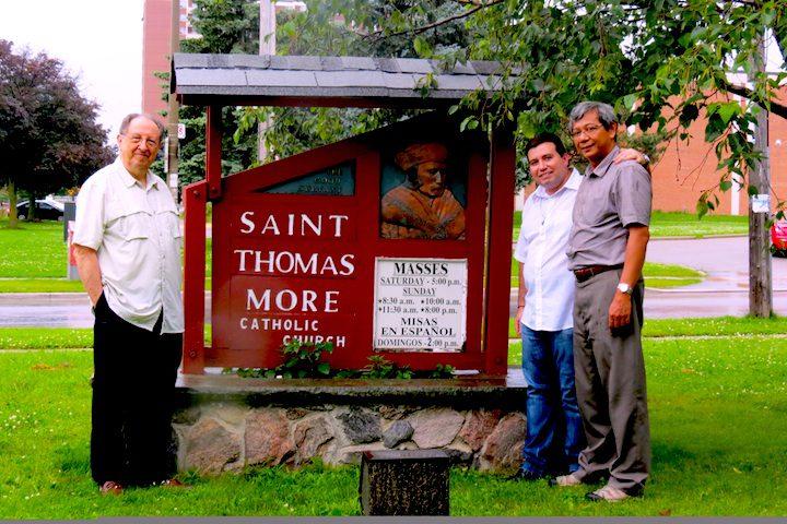Fr. Jim Casper, Fr. Aegi Warsito and Willyans Prado Rapozo outside of the SCJs' new ministry in Toronto