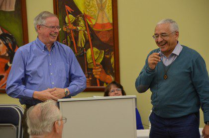 Fr. John van den Hengel and Fr. José Ornelas Carvalho share a laugh during the last morning of the conference.