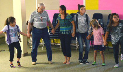 Fr. José Ornelas Carvalho, superior general, with LaRayne Woster, Native American studies teacher at St. Joseph's Indian School in South Dakota. During his September visit to the school Fr. General a few of the Native American dances celebrated on Native American Day.