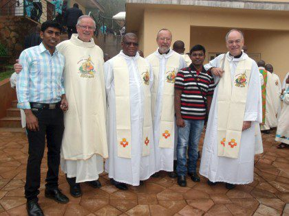Frater Sharmin (Indian SCJstudying in Cameroon), Fr. John van den Hengel (general administration), Fr. Mpiti Joshua of South Africa, Fr. Byron Haaland, Frater Anthony (Indian SCJ who shared several of these photos as well as text from the celebration), and Fr. Charles Brown.