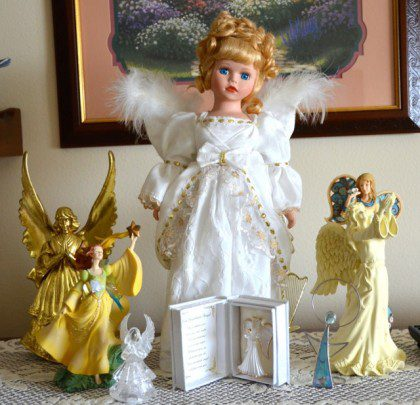 Born on the feast of the Assumption, Adeline has long collected angels. These are just a few that she has kept after donating most of her collection to the Angel Museum in Beloit, WI