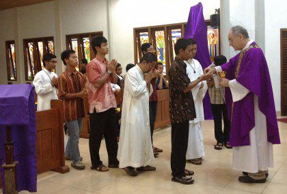 Fr. Charlie at Mass with students at St. John Novitiate in Indonesia