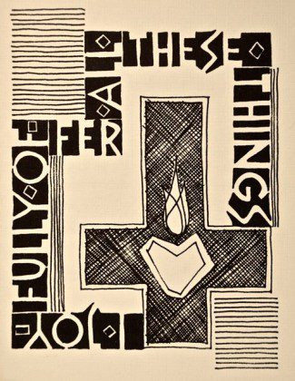 Linoleum block print, David Schimmel, 1976