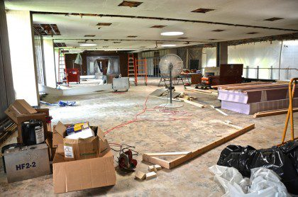 A photo of the SHSST lobby under construction