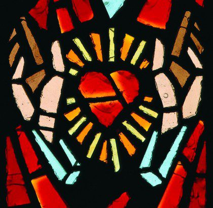 From the stained glass window of the Sacred Heart in the main chapel at Sacred Heart Seminary and School of Theology