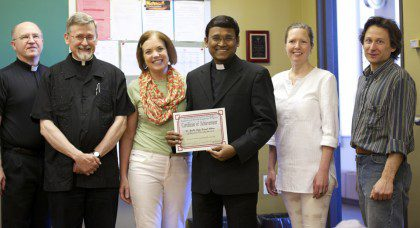 Last week Fr. Steve took part in graduation day from the spring ESL session.