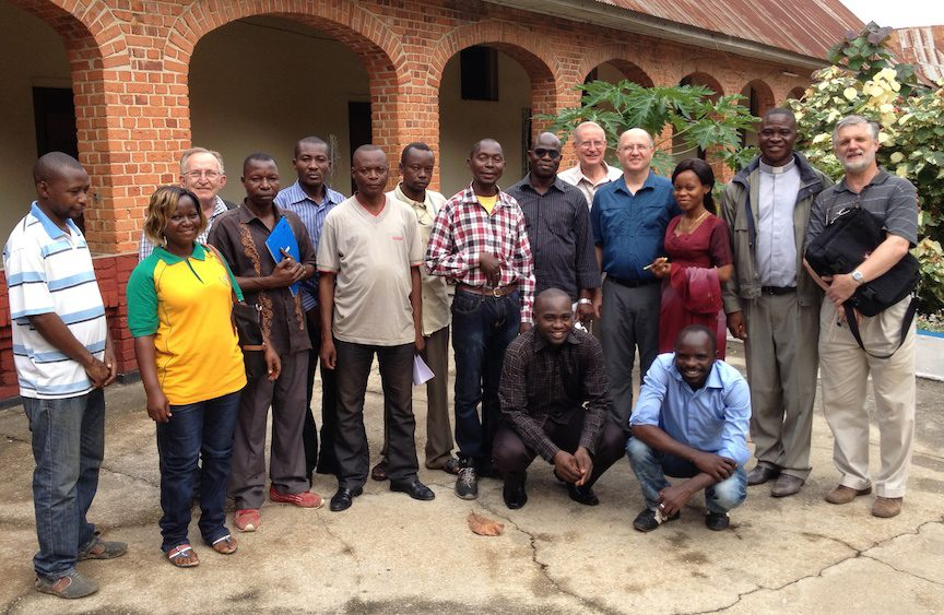 SCJs with RTA staff in Kisangani. RTA is the archdiocese's broadcast service.