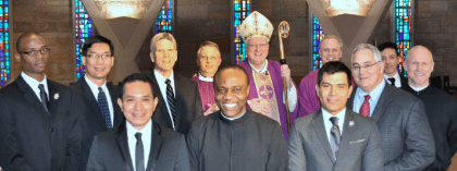 Newly instituted readers at SHSST with Bishop William Callahan and Msgr. Ross Shecterle