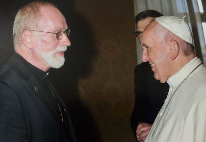 Fr. Ed met Pope Francis during the General Chapter in Rome. The new provincial will concelebrate Mass with the Holy Father on Wednesday with other major superiors on Wednesday.