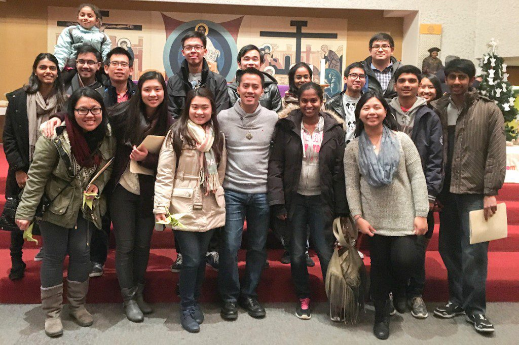 Fra. James (front, center) and Fra. Joseph (back, right) with participants at the Advent retreat in Toronto.