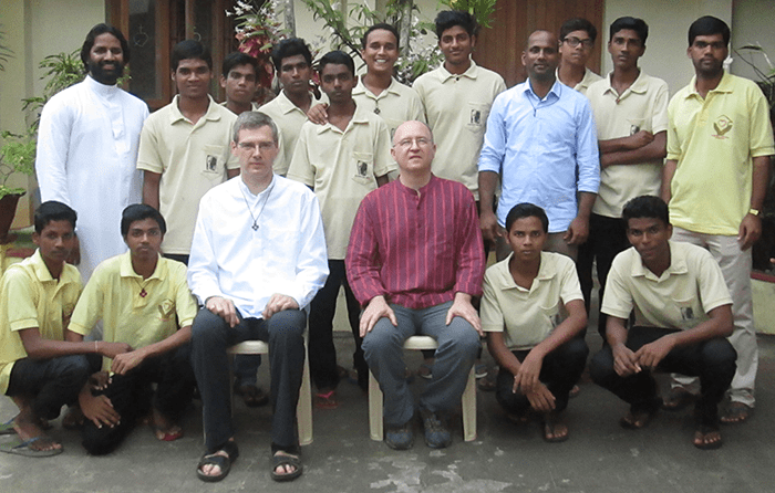 Frs. Heiner Wilmer and Stephen Huffstetter with SCJs in India