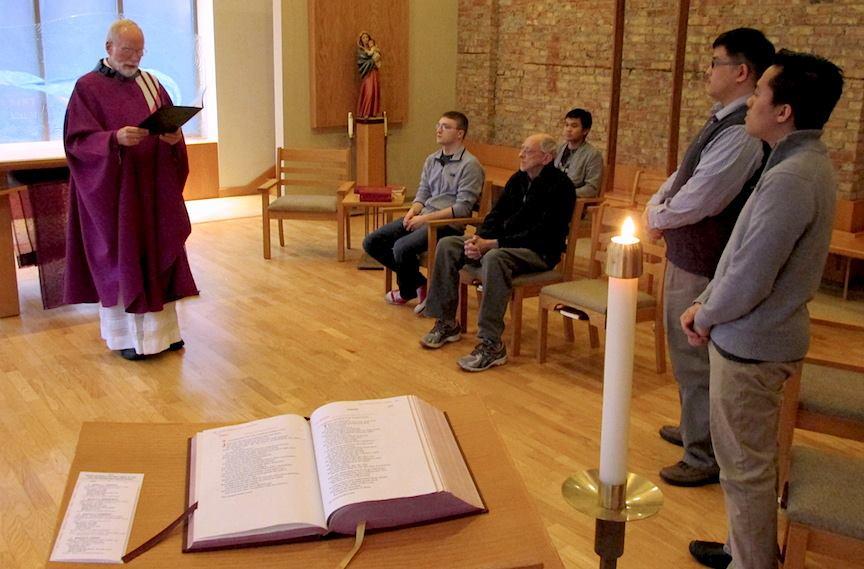 Fr. Ed installs Fraters Joseph and Vu as lectors