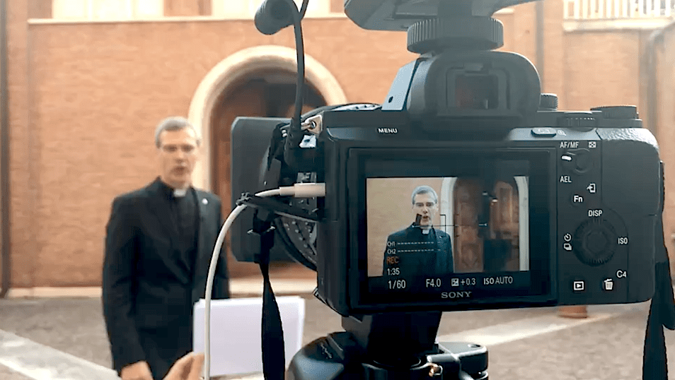 Fr. Heiner Wilmer, superior general, records a message for Mission Education